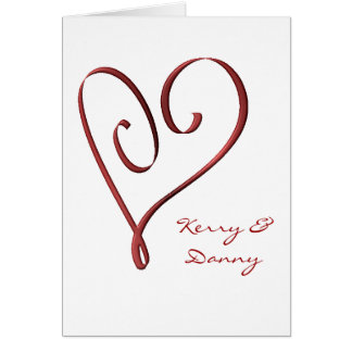 KRW Stylized Red Heart Custom Wedding Invitation