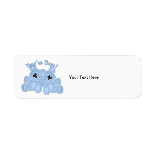 KRW They're Boys Twin Teddy Bears Custom Label Return Address Label