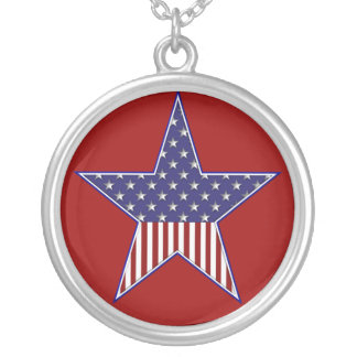 KRW USA Flag Star Sterling Silver Necklace