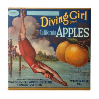 KRW Vintage Diving Girl Apple Fruit Crate Label Ceramic Tile