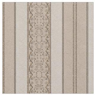KRW Vintage Elegant Beige Scroll Stripe Fabric