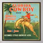 KRW Vintage Florida Cowboy Citrus Fruit Label Poster
