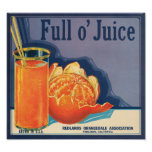 KRW Vintage Full o' Juice Orange Fruit Crate Label Poster