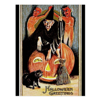 KRW Vintage Halloween Greetings Postcard