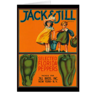 KRW Vintage Jack and Jill Peppers Crate Label Card