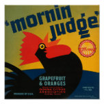 KRW Vintage Morning Judge Rooster Grapefruit Label Poster