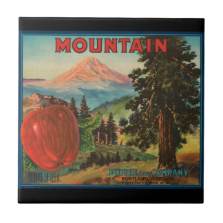 KRW Vintage Mountain Apples Fruit Crate Label Small Square Tile