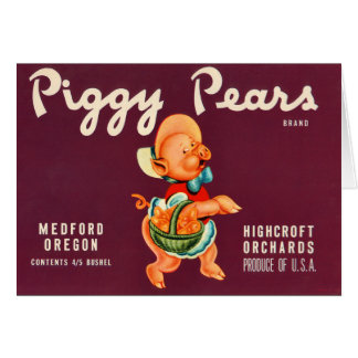 KRW Vintage Piggy Pears Crate Label Card