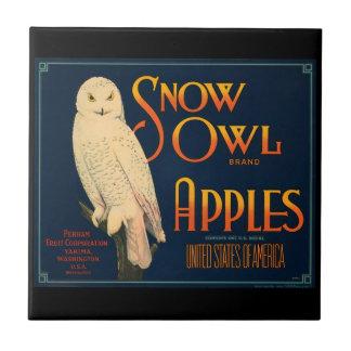 KRW Vintage Snow Owl Apples Fruit Crate Label Small Square Tile