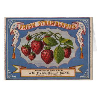 KRW Vintage Strawberries Crate Label Greeting Card