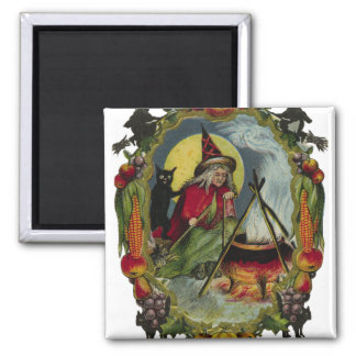 KRW Vintage Witch and Cauldron Halloween Magnet