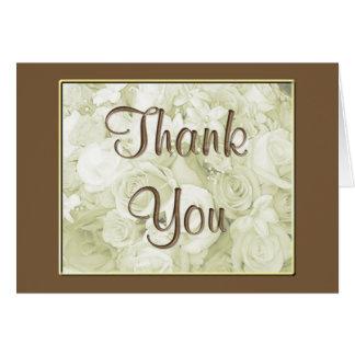 KRW Wedding Sepia Bouquet Thank You Card