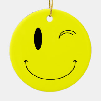 KRW Winking Smilie Face Ornament