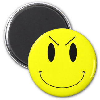 KRW Yellow Evil Smiley Face 6 Cm Round Magnet