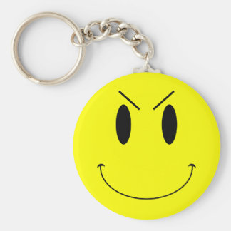 KRW Yellow Evil Smiley Face Basic Round Button Key Ring