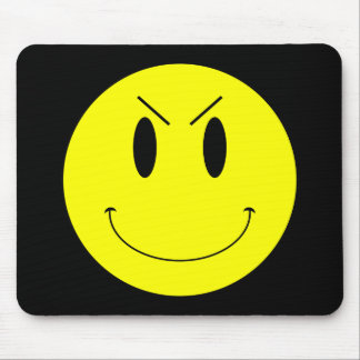 KRW Yellow Evil Smiley Face Mouse Pad