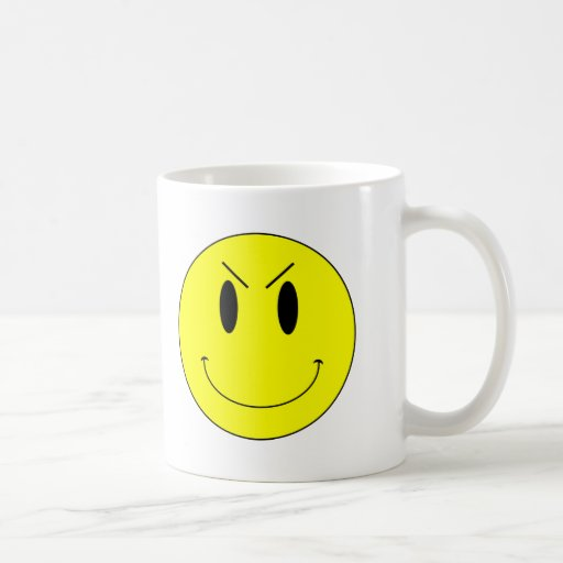 KRW Yellow Evil Smiley Face Coffee Mugs