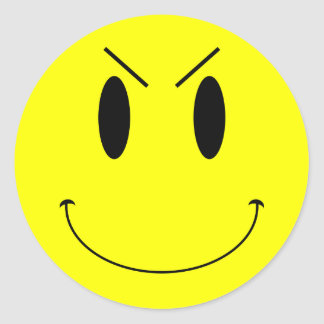 KRW Yellow Evil Smiley Face Round Sticker