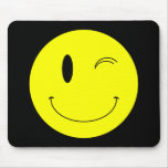 KRW Yellow Winking Smiley Face Mouse Pad