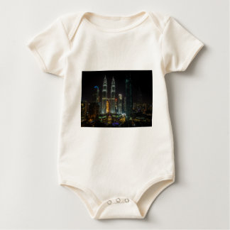 Kuala Lumpar Skyline At Night Baby Bodysuit