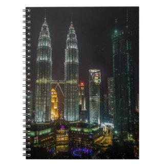 Kuala Lumpar Skyline At Night Spiral Notebook