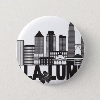 Kuala Lumpur City Skyline Text Black and White Ill 6 Cm Round Badge