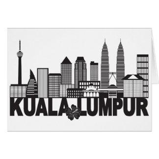 Kuala Lumpur City Skyline Text Black and White Ill Card