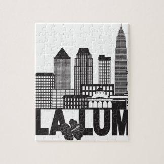 Kuala Lumpur City Skyline Text Black and White Ill Jigsaw Puzzle