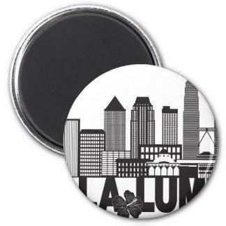 Kuala Lumpur City Skyline Text Black and White Ill Magnet