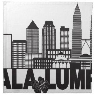 Kuala Lumpur City Skyline Text Black and White Ill Napkin