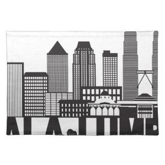 Kuala Lumpur City Skyline Text Black and White Ill Placemat