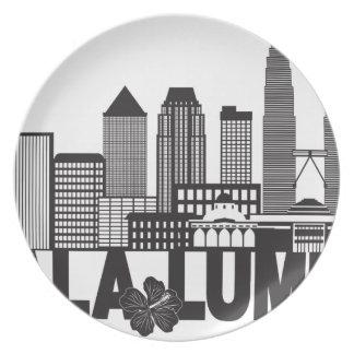 Kuala Lumpur City Skyline Text Black and White Ill Plate