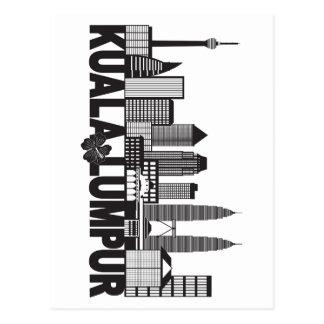 Kuala Lumpur City Skyline Text Black and White Ill Postcard