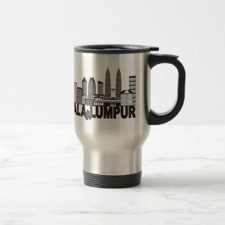 Kuala Lumpur City Skyline Text Black and White Ill Travel Mug