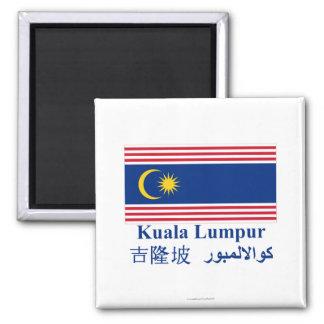 Kuala Lumpur flag with name Fridge Magnet
