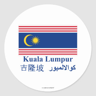 Kuala Lumpur flag with name Round Stickers