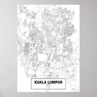 Kuala Lumpur, Malaysia (black on white, custom) Poster