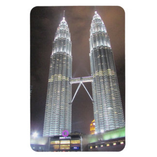 kuala lumpur night towers rectangular photo magnet