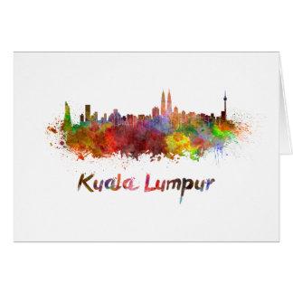 Kuala Lumpur skyline in watercolor Card