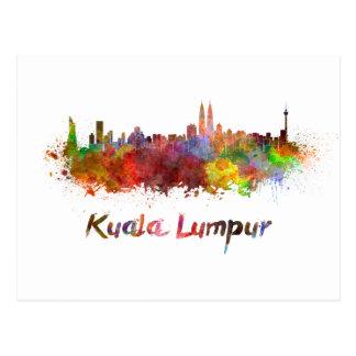 Kuala Lumpur skyline in watercolor splatters Postcard