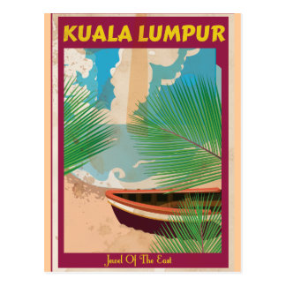 Kuala Lumpur vintage travel poster Post Card