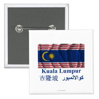 Kuala Lumpur waving flag with name Pins