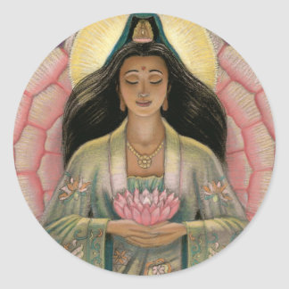 Kuan Yin Goddess of Compassion Classic Round Sticker