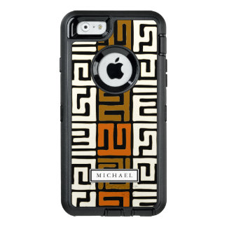 Kuba Cloth Inspired Warm Earth Colors Custom Name OtterBox Defender iPhone Case