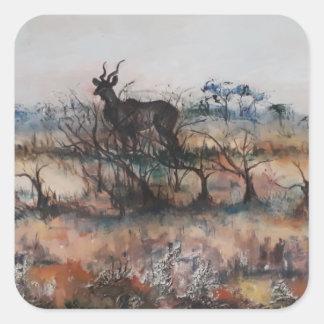 Kudu Bull Square Sticker