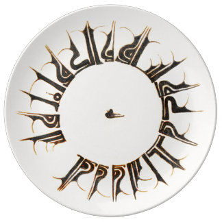 Kufic plate in porcelain with duck