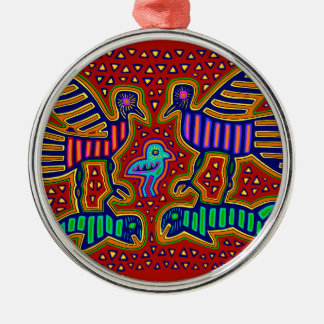 Kuna Indian Birds with Fish Metal Ornament