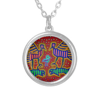 Kuna Indian Birds with Fish Silver Plated Necklace