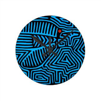 Kuna Indian Blue Bird Round Clock
