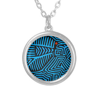 Kuna Indian Blue Bird Silver Plated Necklace